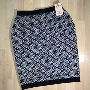 PINK ROSE Aztec/Tribal Print Stretch Sweater Skirt